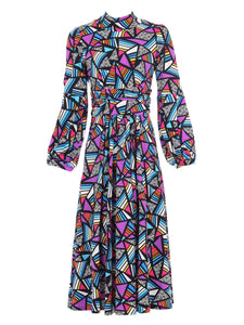 Jolie Moi Turtle Neck Midi Dress, Royal Multi