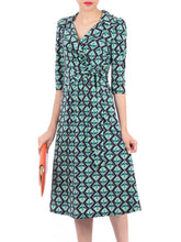 Load image into Gallery viewer, Jolie Moi Wrap Front Midi Dress, Blue Multi