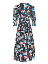 Load image into Gallery viewer, Jolie Moi Wrap Front Midi Dress, Black Multi
