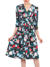 Load image into Gallery viewer, Belted Wrap Front Dress, Black Multi