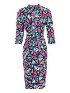 Jolie Moi Twist Body Con Dress, Royal Multi