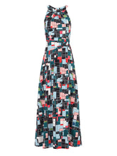 Load image into Gallery viewer, Jolie Moi Printed Halter Neck Long Dress, Green Multi