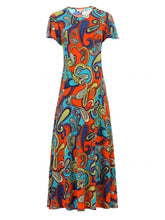 Load image into Gallery viewer, Jolie Moi Printed Cap Sleeve Dress, Red/Multi