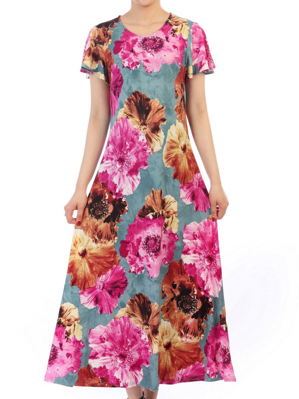 Jolie Moi Printed Cap Sleeve Dress, BLUE FLORAL