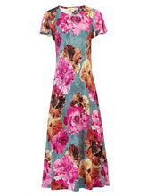 Load image into Gallery viewer, Jolie Moi Printed Cap Sleeve Dress, BLUE FLORAL