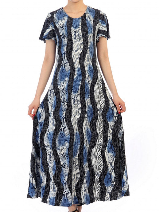 Jolie Moi Printed Cap Sleeve Dress, Navy Multi