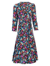Load image into Gallery viewer, Joile Moi twist front Midi Ruffle Dress, Purple Geo