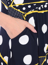 Load image into Gallery viewer, Roll Collar Tea Dress, Black Polka