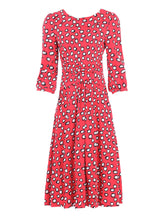 Load image into Gallery viewer, Roll Collar Jersey Tea Dress, Red Polka