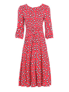 Jolie Moi Roll Collar Tea Dress, Red Polka
