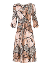 Load image into Gallery viewer, Jolie Moi Roll Collar Tea Dress, Brown Pattern