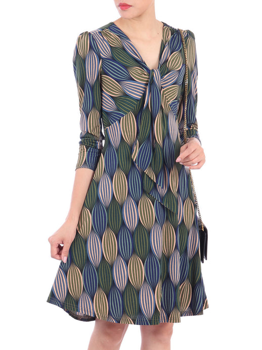 Print Long Sleeve Tie Front Dress, Blue Multi