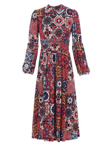 Jolie Moi High Neck Midi Dress, Red Multi