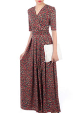 Load image into Gallery viewer, Wrap V Neck Maxi Dress