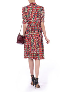 Jolie Moi Turtle Neck Midi Dress, Red Multi