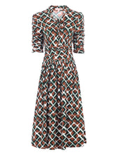 Load image into Gallery viewer, Tie Neck Midi Dress, Geo Multi