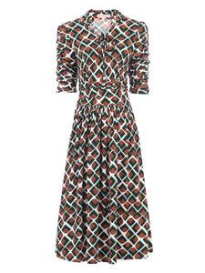 Tie Neck Midi Dress, Geo Multi