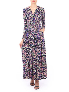 Long Sleeve Printed Maxi Dress, Abstract Multi