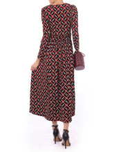Load image into Gallery viewer, Long Sleeve Printed Maxi Dress, Geo Multi