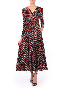Long Sleeve Printed Maxi Dress, Geo Multi