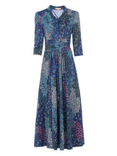 Load image into Gallery viewer, Tie Neck 3/4 Sleeve Maxi Dress, Blue Multi