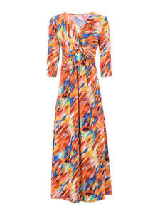 Rainbow Twist Front Maxi Dress