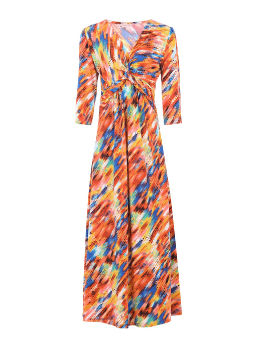 Rainbow Twist Front Maxi Dress, Abstract Multi Rainbow