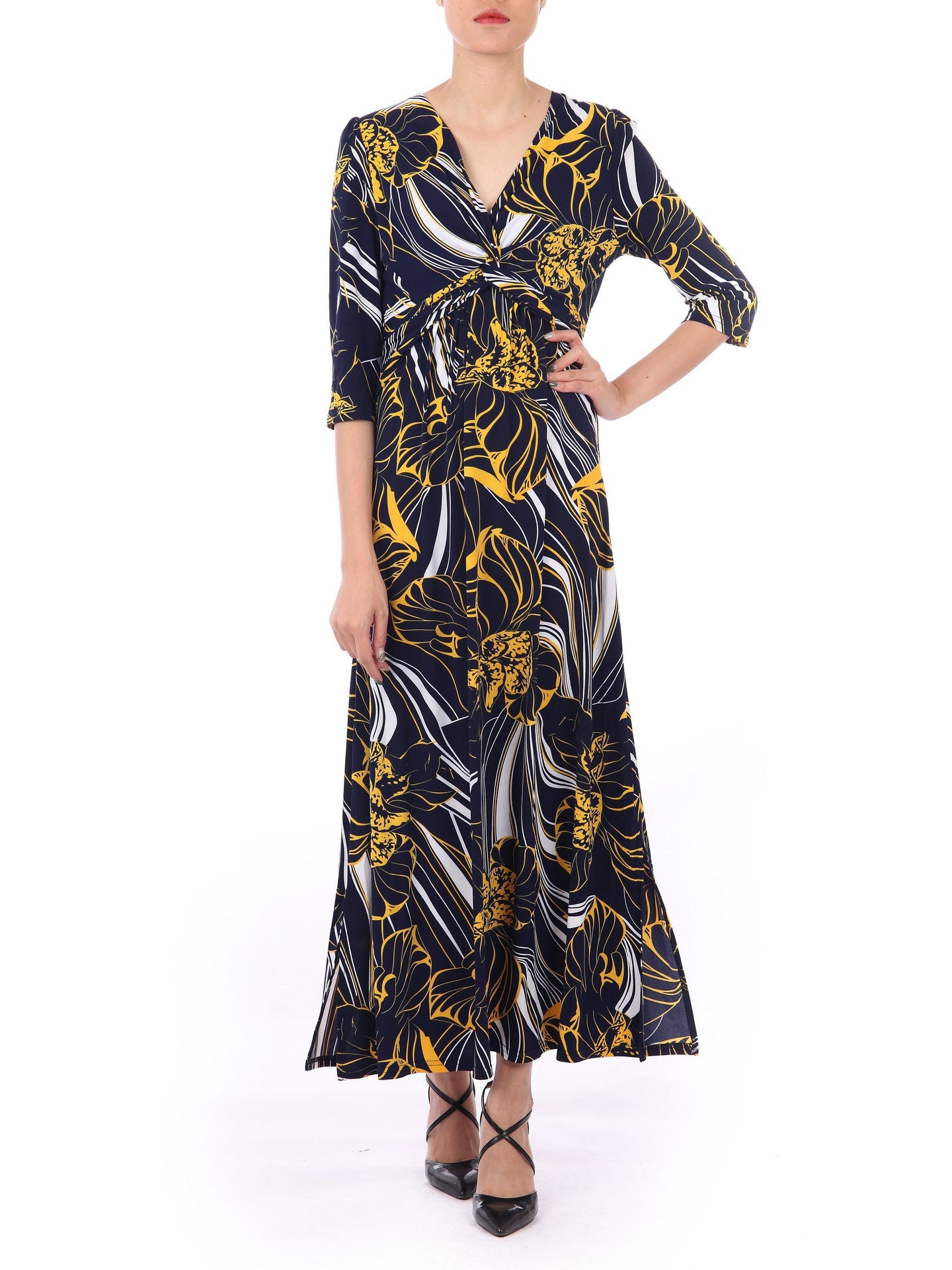 Twist Front Maxi Dress, Floral Multi