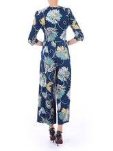 Load image into Gallery viewer, Floral Print D-Ring Jumpsuit, Teal Floral
