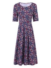 Load image into Gallery viewer, Abstract Print Midi Dress, Purple Multi