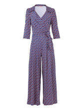 Load image into Gallery viewer, Geometric Print Cross Over Jumpsuit, Blue Multi