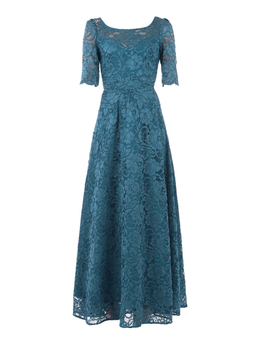 Elbow Sleeve Maxi Lace Dress,  Teal
