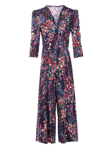 Printed Twist Front Jumpsuit, Navy Multi