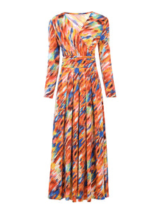 long Sleeve Printed Maxi Dress, Red Multi