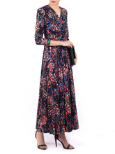 Load image into Gallery viewer, Long Sleeve printed Maxi Dress, Navy Multi