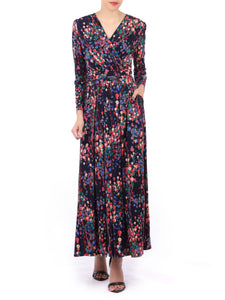 Long Sleeve printed Maxi Dress, Navy Multi