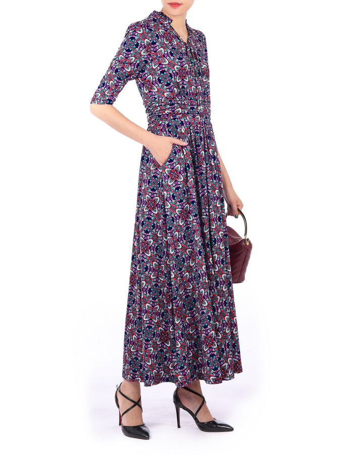 Tie Neck 3/4 Sleeve Maxi Dress, Multi