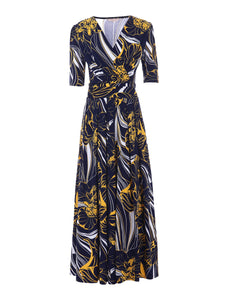 Half Sleeve Wrap Front Maxi Dress, Floral Multi