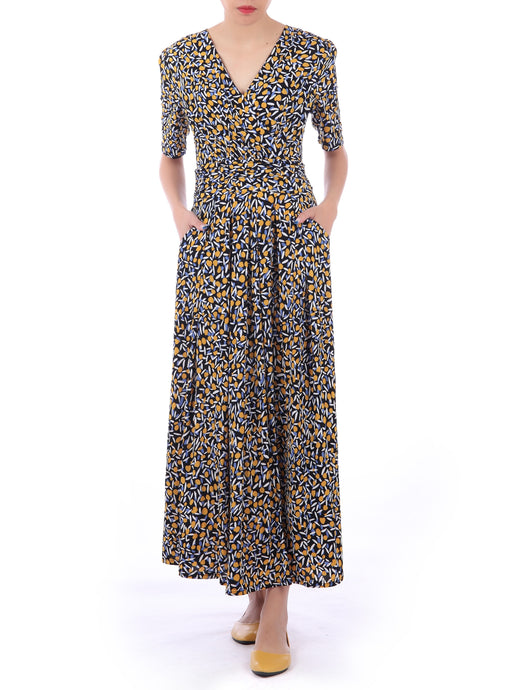 Half Sleeve Wrap Front Maxi Dress, Multi