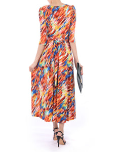 3/4 Sleeved Boat Neck Maxi Dress, Orange Multi