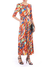 Load image into Gallery viewer,  3/4 Sleeved Boat Neck Maxi Dress, Orange Multi