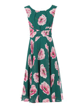 Load image into Gallery viewer, Floral Print Chiffon Midi Dress, Teal Floral