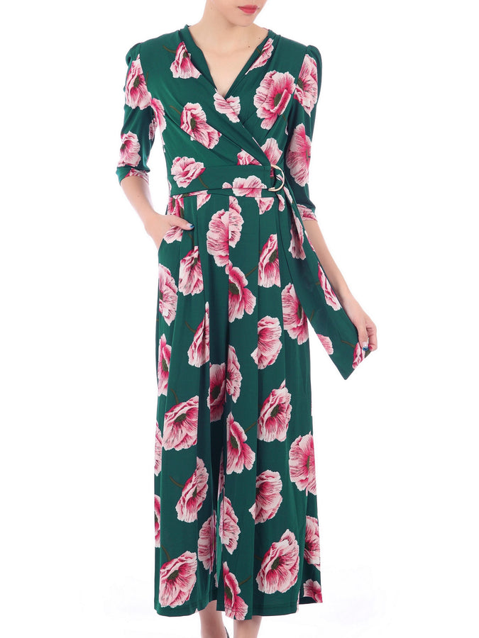 Wrap Front D Ring Jumpsuit, Green Floral