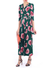 Load image into Gallery viewer, Floral Print Wrap D-Ring Jumpsuit, Green Floral