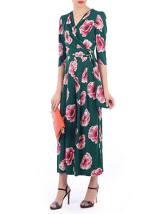 Floral Print Wrap D-Ring Jumpsuit, Green Floral