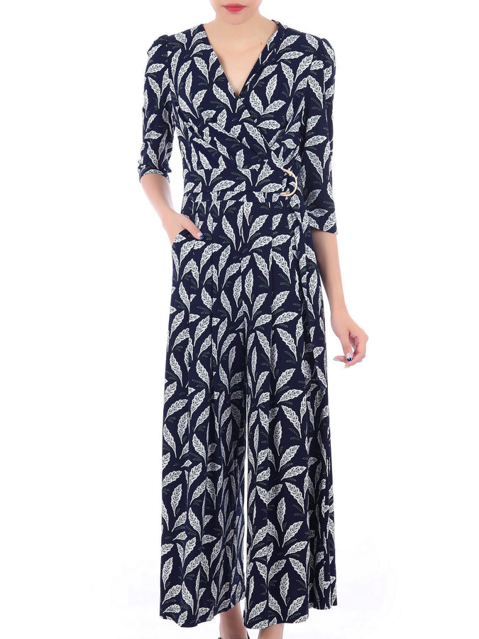 Wrap Front D Ring Jumpsuit, Navy Feather