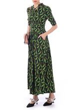 Load image into Gallery viewer, Tie Neck Jersey Maxi Dress, Feather Multi