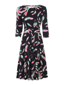 3/4 Sleeve Print Jersey Midi Dress