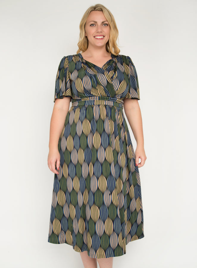 J by Jolie Moi Flare Sleeve Maxi Dress, Green Multi