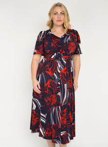 J by Jolie Moi Flare Sleeve Maxi Dress, Navy Multi